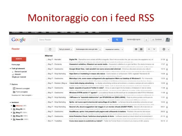 Monitoraggio con i feed RSS