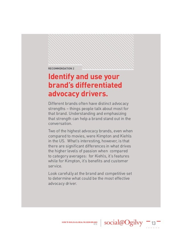 13HOW TO BUILD A GLOBAL PASSION BRAND 2013 RECOMMENDATION 2 Identify and use your brand's differentiated advocacy drivers....