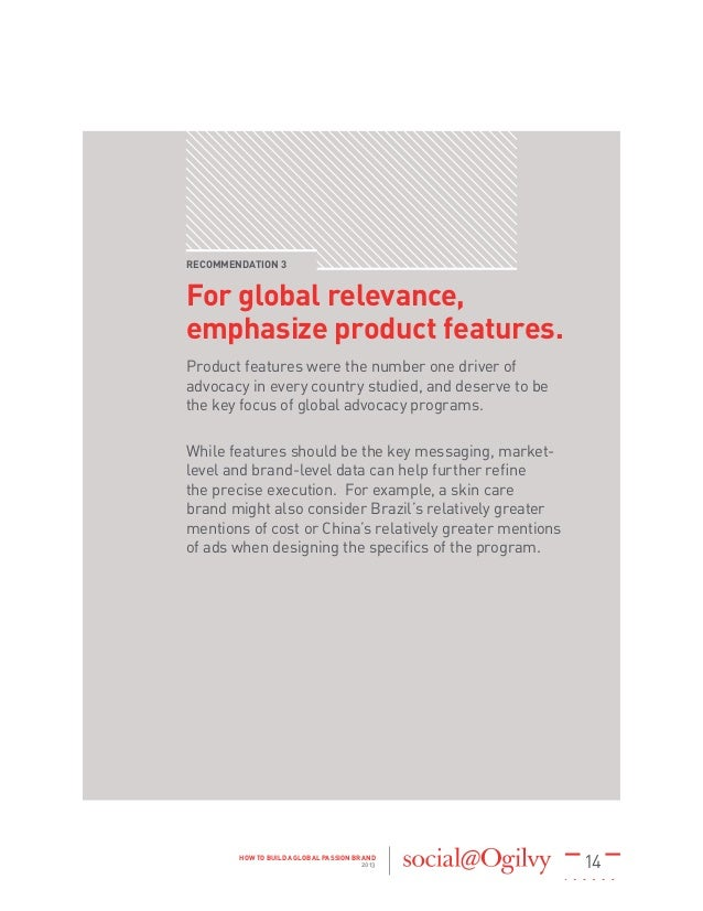 14HOW TO BUILD A GLOBAL PASSION BRAND 2013 RECOMMENDATION 3 For global relevance, emphasize product features. Product feat...