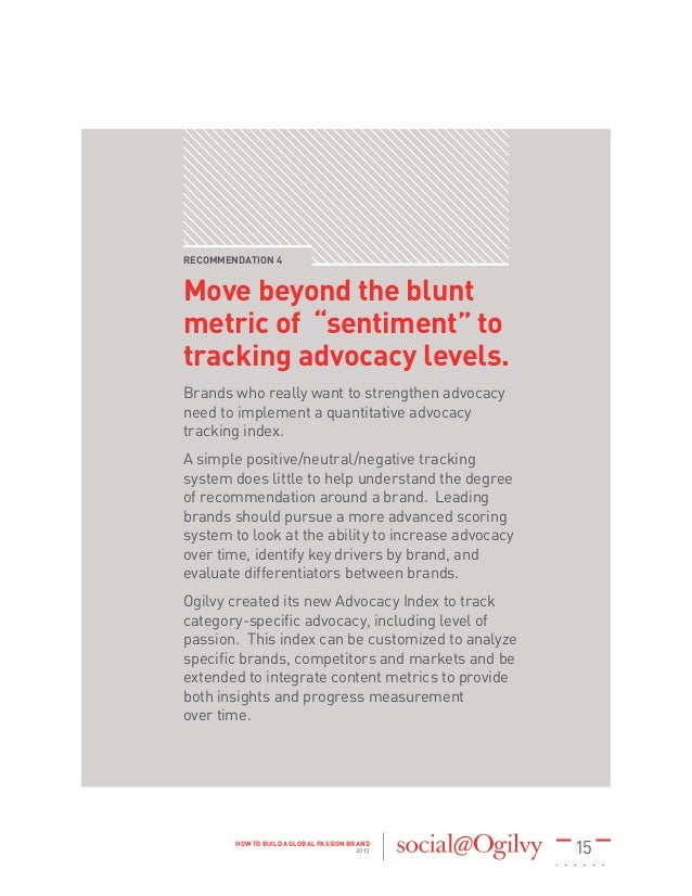 """15HOW TO BUILD A GLOBAL PASSION BRAND 2013 RECOMMENDATION 4 Move beyond the blunt metric of """"sentiment"""" to tracking advoca..."""