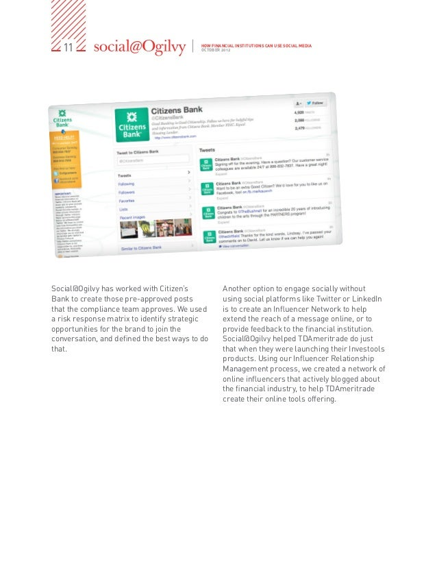 11                                     HOW FINANCIAL INSTITUTIONS CAN USE SOCIAL MEDIA                                    ...