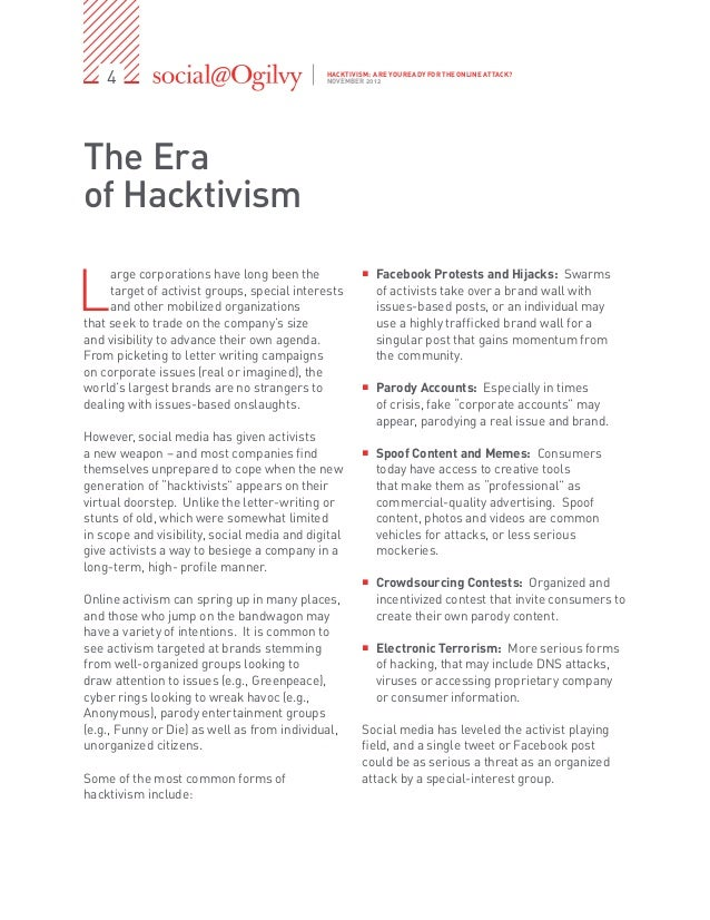 What Is Hacktivism? Essay Sample