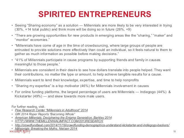 """10 SPIRITED ENTREPRENEURS • Seeing """"Sharing economy"""" as a solution — Millennials are more likely to be very interested in..."""