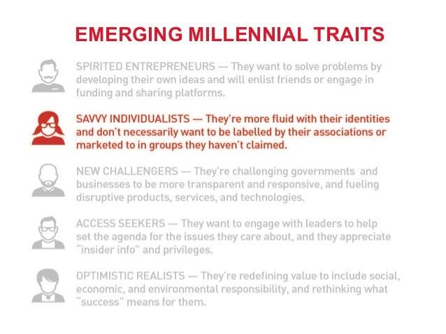 11 Emerging Millennial Profile: Savvy Individualists EMERGING MILLENNIAL TRAITS