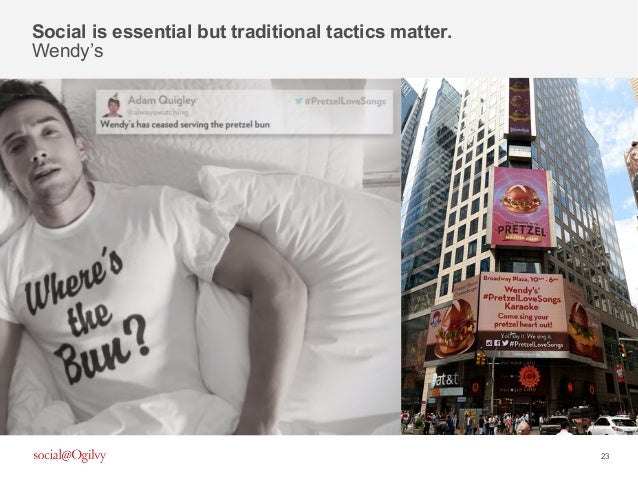 23 Social is essential but traditional tactics matter. Wendy's