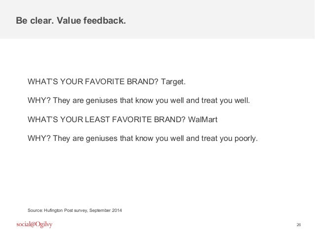 26 WHAT'S YOUR FAVORITE BRAND? Target. WHY? They are geniuses that know you well and treat you well. WHAT'S YOUR LEAST FAV...
