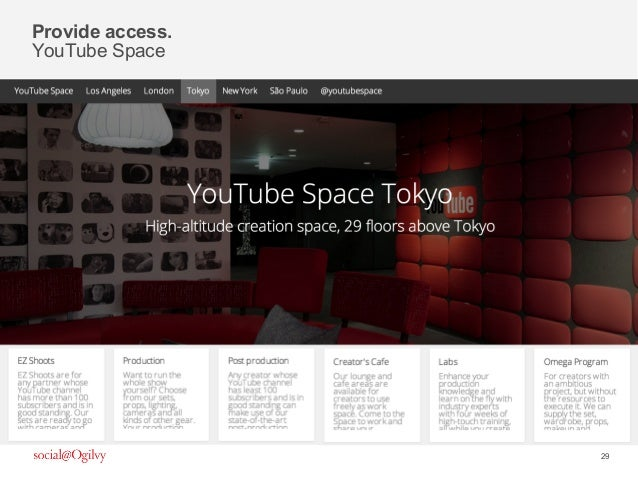29 Provide access. YouTube Space