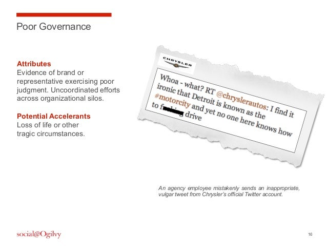 16Poor GovernanceAttributesEvidence of brand orrepresentative exercising poorjudgment. Uncoordinated effortsacross organiz...