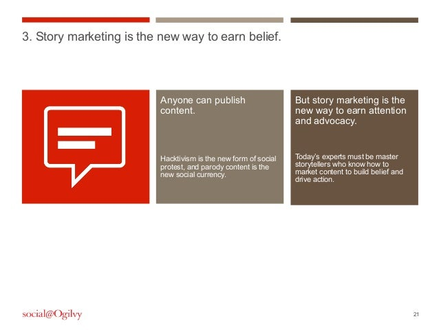 21But story marketing is thenew way to earn attentionand advocacy.Today's experts must be masterstorytellers who know how ...