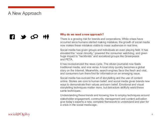 4A New ApproachWhy do we need a new approach?There is a growing risk for brands and corporations. While crises haveoccurre...