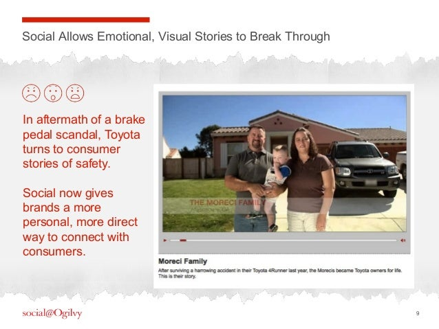 9Social Allows Emotional, Visual Stories to Break ThroughIn aftermath of a brakepedal scandal, Toyotaturns to consumerstor...