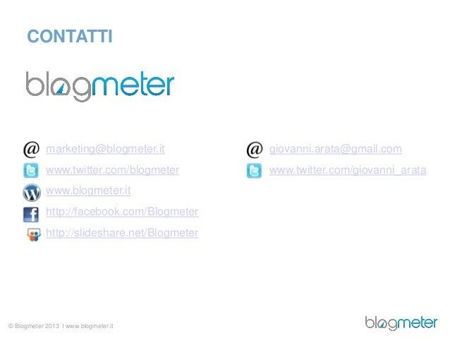 CONTATTI            marketing@blogmeter.it            giovanni.arata@gmail.com            www.twitter.com/blogmeter       ...