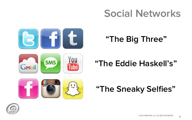 """Social Networks  """"The Big Three""""""""The Eddie Haskell's""""""""The Sneaky Selfies""""           ©2012 @MIKETRAP, LLC. ALL RIGHTS RESERV..."""