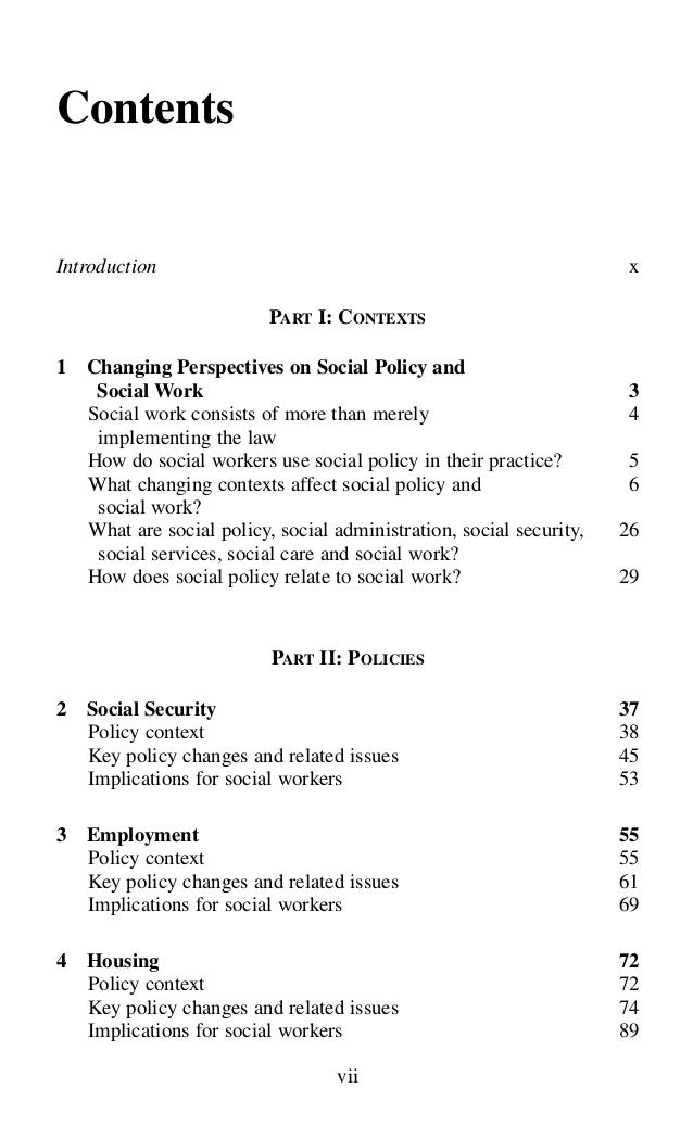 policy paper social work The journal of social work is a forum for the publication, dissemination and debate of key ideas and research in social work the journal aims to advance theoretical understanding, shape policy, and inform practice, and welcomes submissions from all areas of social work.