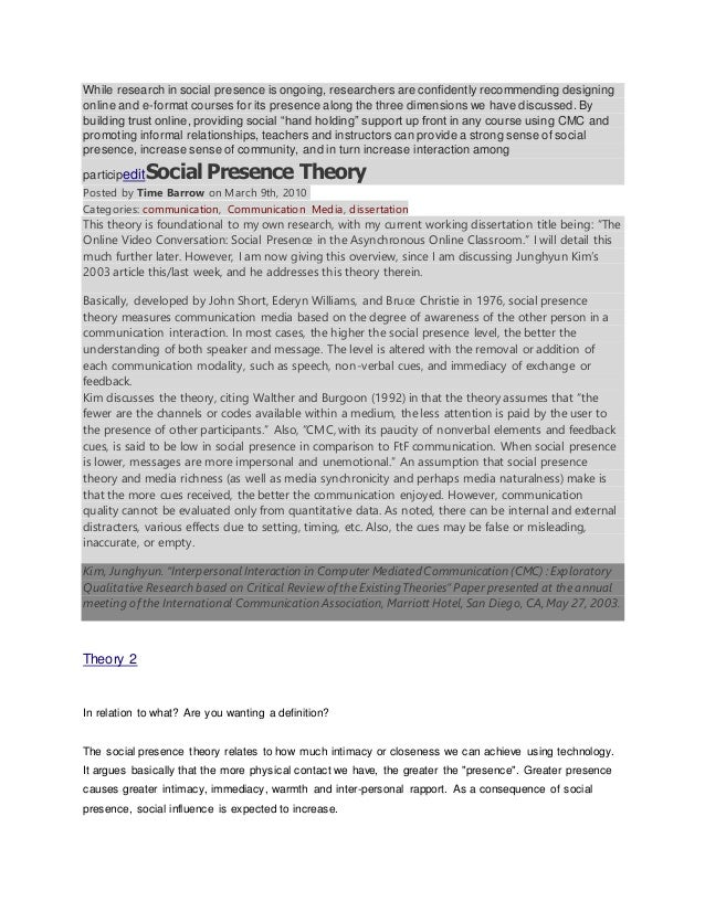 While research in social presence is ongoing, researchers are confidently recommending designing  online and e-format cour...