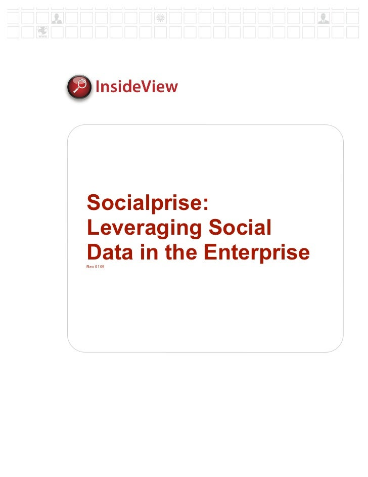Socialprise: Leveraging Social Data in the Enterprise Rev 0109