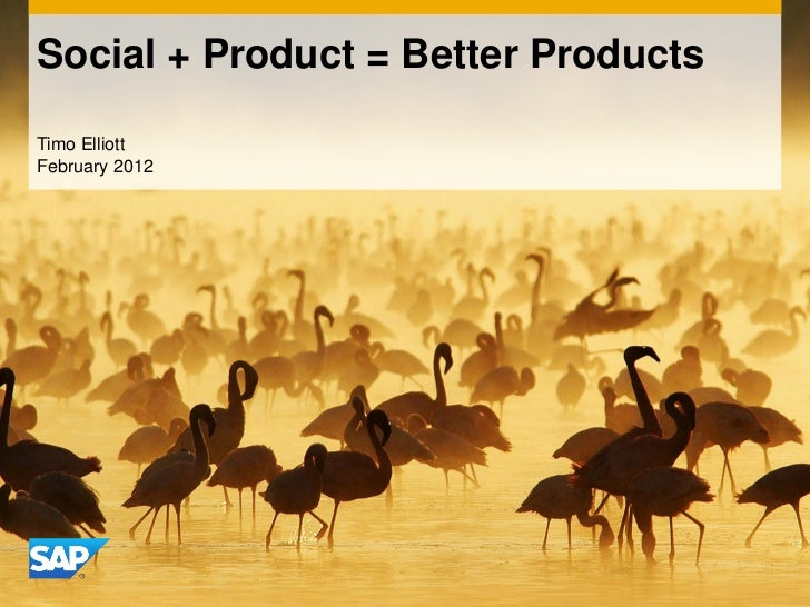 Social + Product = Better ProductsTimo ElliottFebruary 2012