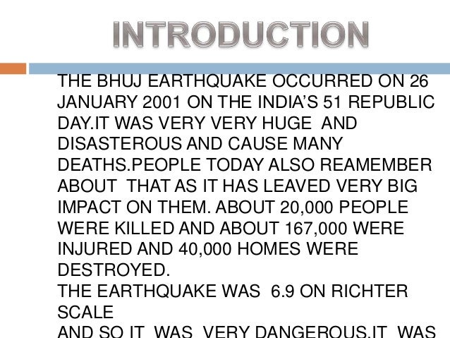 Case Study: Bhuj earth quake 26 th january 2001