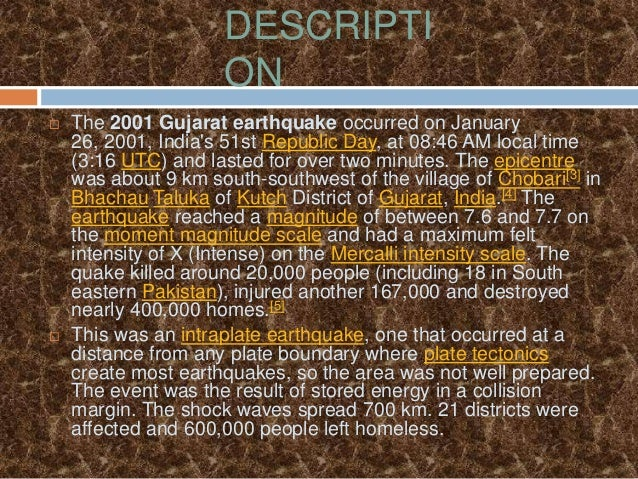 Case Study Earthquake In Bhuj - Chairshunter