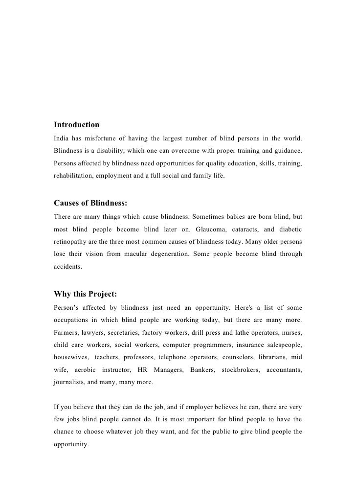Essay on blind person