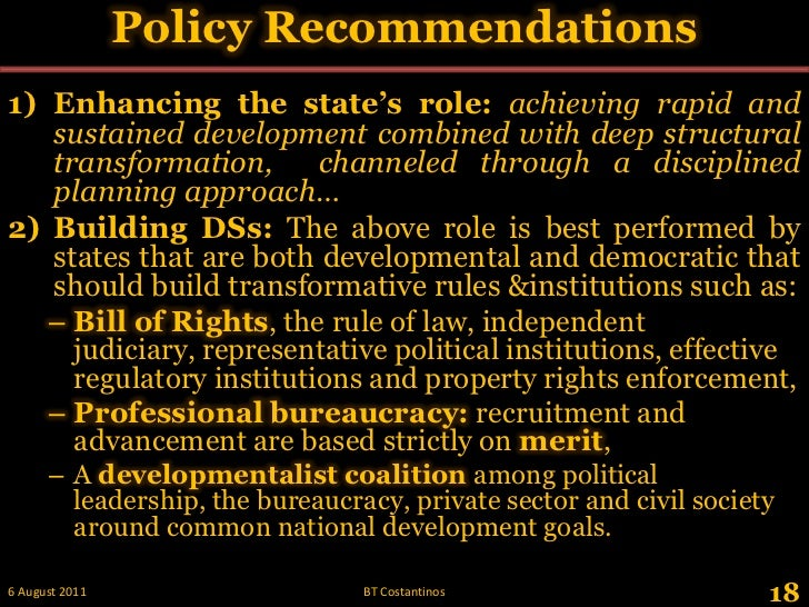 Policy Recommendations<br />18<br />28 May 2011<br />BT Costantinos<br />Enhancing the state's role: achieving rapid and s...