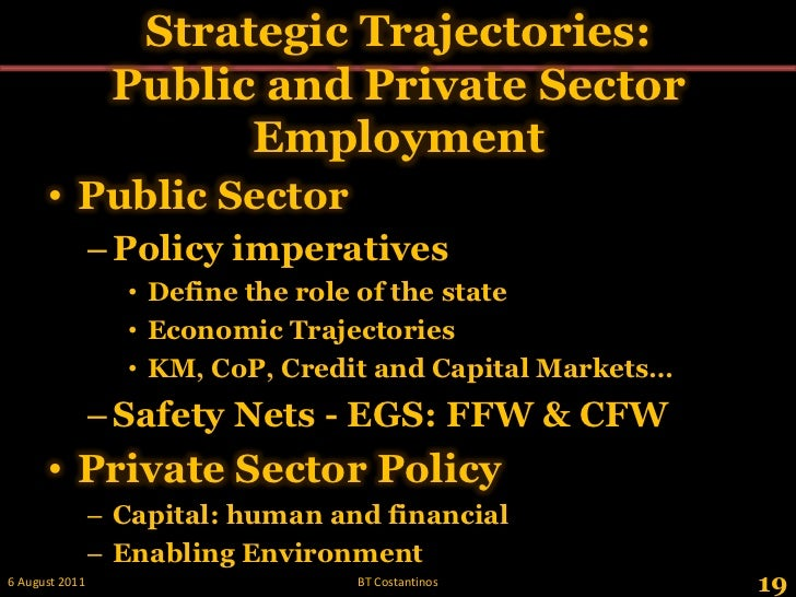 Strategic Trajectories:Public and Private Sector Employment<br />Public Sector <br />Policy imperatives<br />Define the ro...