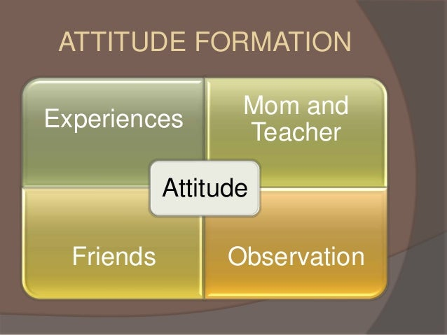 attitude formation Attitude formation and changee i attitudes a three components 1 emotional component (how do you feel about it) 2.
