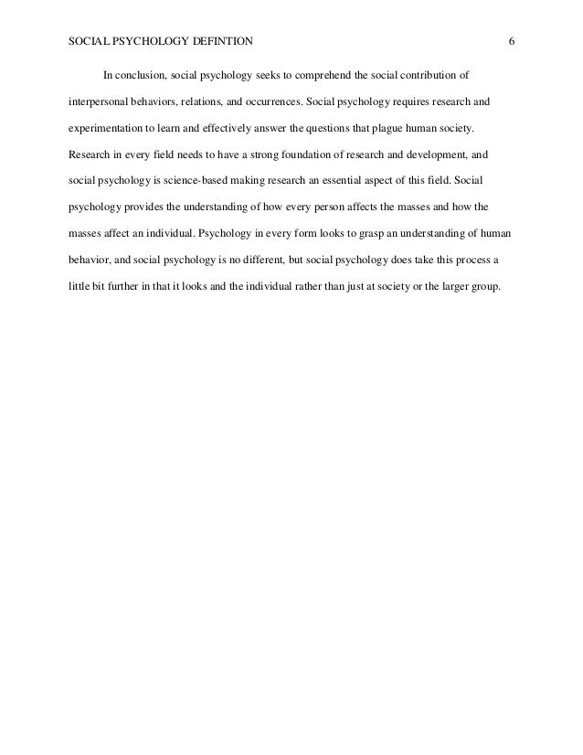 social psychology definition paper social psychology