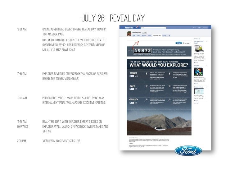EXPLORER REVEAL STATS• Total social media impressions –   99MM• 411MM display impressions on 65.9MM   browsers• #1 Tren...