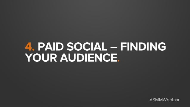 4. PAID SOCIAL – FINDING YOUR AUDIENCE. #SMMWebinar