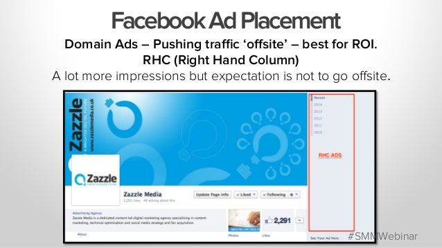 FacebookAdPlacement Domain Ads – Pushing traffic 'offsite' – best for ROI. RHC (Right Hand Column) A lot more impressions but...