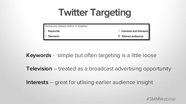 Keywords - simple but often targeting is a little loose Television – treated as a broadcast advertising opportunity Intere...