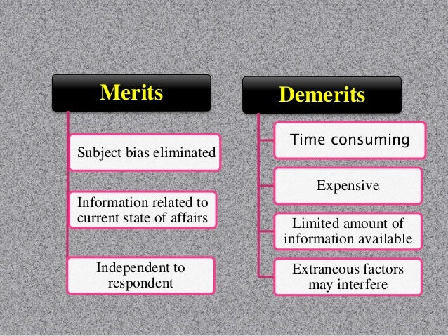Merits More accurate responses Get response from all persons Overcome resistance of respondents Response to difficult ques...