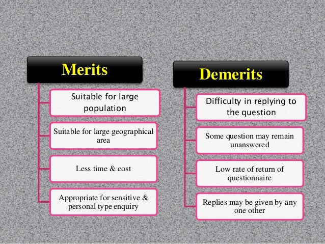Merits Covered large population Less expensive Information is accurate Demerits On small scale survey avoided Time consumi...