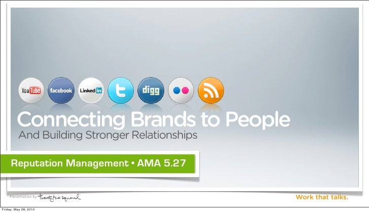 Connecting Brands to People          And Building Stronger Relationships       Reputation Management • AMA 5.27      Prese...
