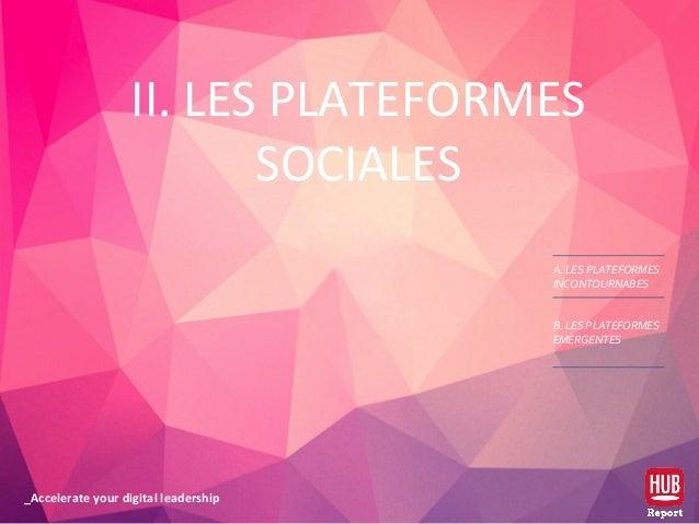 _Accelerate your digital leadership II. LES PLATEFORMES SOCIALES A. LES PLATEFORMES INCONTOURNABES B. LES PLATEFORMES EMER...