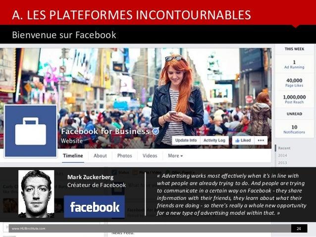 A. LES PLATEFORMES INCONTOURNABLES Bienvenue sur Facebook www.HUBinsttute.com 24 Mark Zuckerberg Créateur de Facebook «Ad...