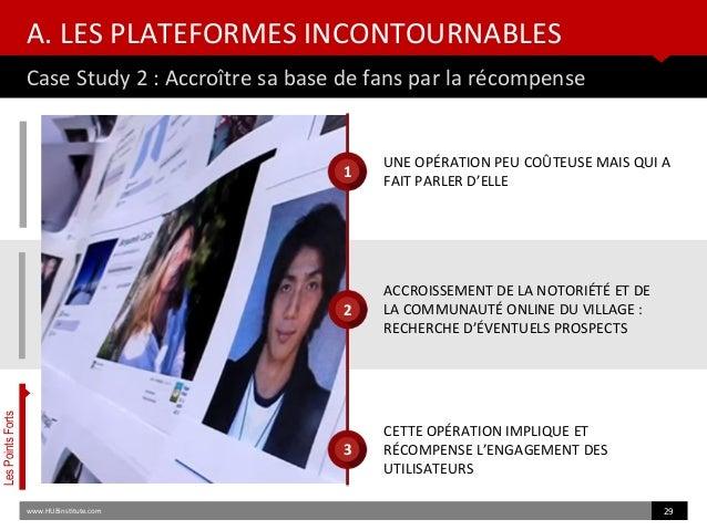A. LES PLATEFORMES INCONTOURNABLES Case Study 2 : Accroître sa base de fans par la récompense www.HUBinsttute.com 29 LesPo...