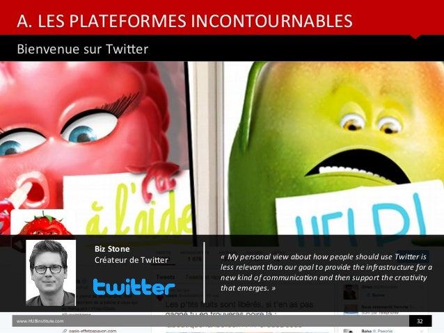 A. LES PLATEFORMES INCONTOURNABLES Bienvenue sur Twiter www.HUBinsttute.com 32 Biz Stone Créateur de Twiter «Mypersonal...