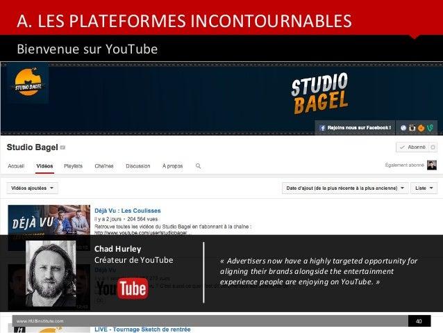 A. LES PLATEFORMES INCONTOURNABLES Bienvenue sur YouTube www.HUBinsttute.com 40 Chad Hurley Créateur de YouTube «Advertse...