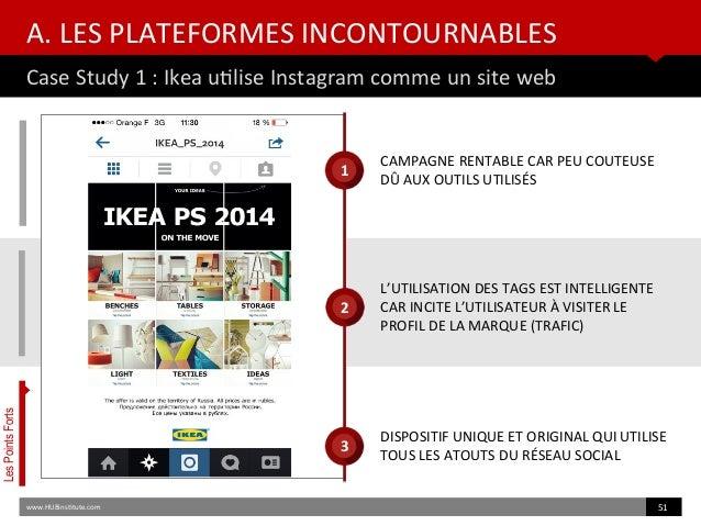 A. LES PLATEFORMES INCONTOURNABLES Case Study 1 : Ikea utlise Instagram comme un site web www.HUBinsttute.com 51 LesPoints...