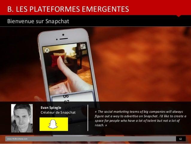 B. LES PLATEFORMES EMERGENTES Bienvenue sur Snapchat www.HUBinsttute.com 62 Evan Spiegle Créateur de Snapchat «Thesocial...