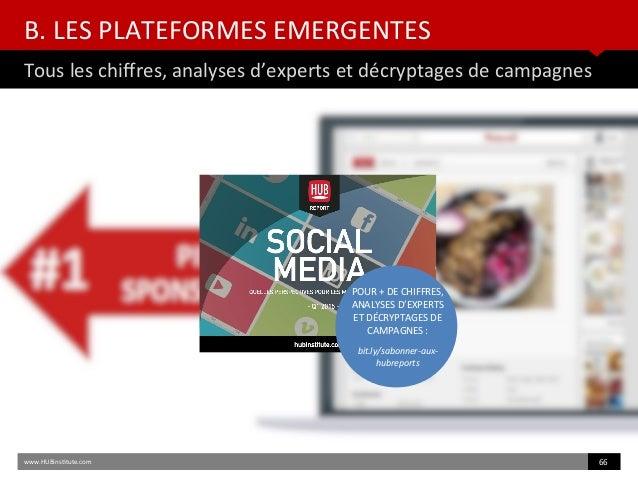 B. LES PLATEFORMES EMERGENTES Tous les chifres, analyses d'experts et décryptages de campagnes www.HUBinsttute.com 66 POUR...