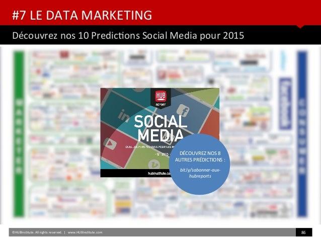 #7 LE DATA MARKETING Découvrez nos 10 Predictons Social Media pour 2015 ©HUBInsttute. All rights reserved.   www.HUBInsttu...