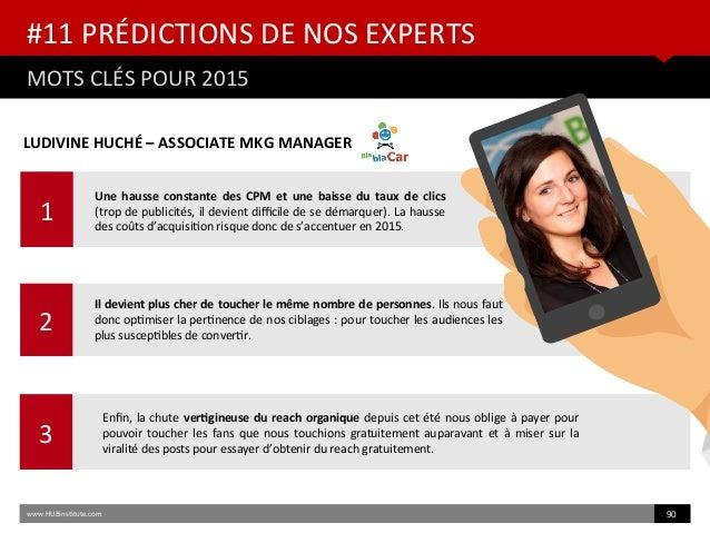 1 #11 PRÉDICTIONS DE NOS EXPERTS MOTS CLÉS POUR 2015 www.HUBinsttute.com 90 2 3 LUDIVINE HUCHÉ – ASSOCIATE MKG MANAGER Une...