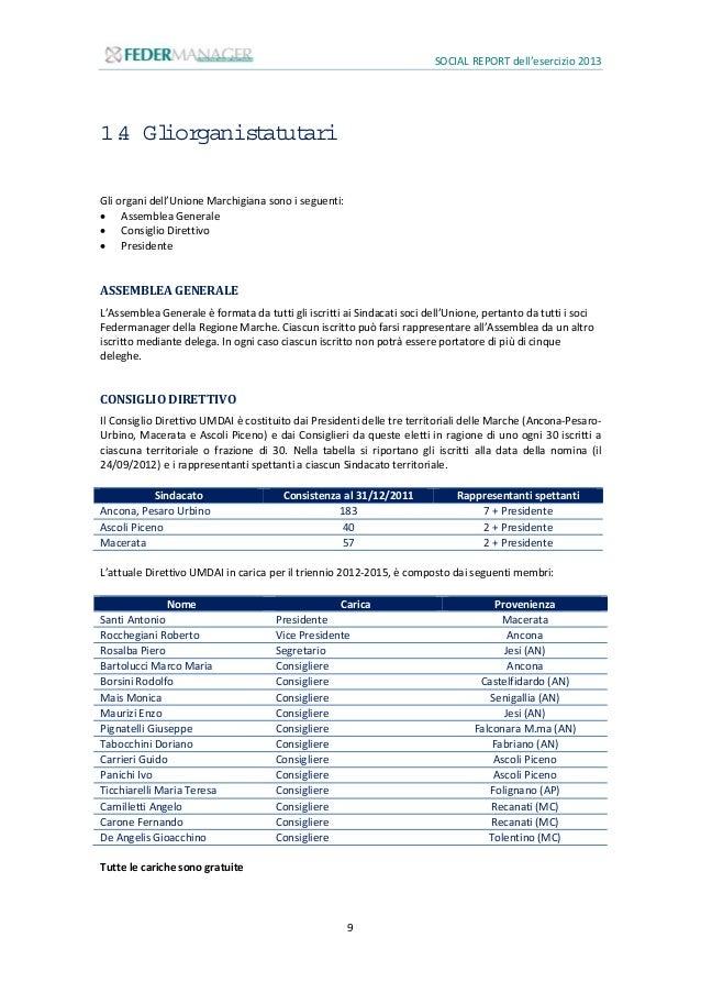 SOCIAL REPORT dell'esercizio 2013 10 1.5 Gliassociati Possono iscriversi alla Federazione i Dirigenti in servizio, in cerc...
