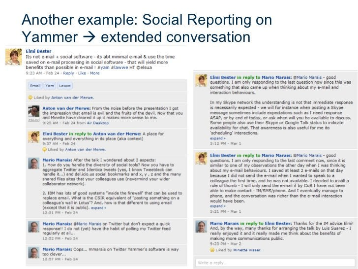 Another example: Social Reporting on            Extended conversationsYammer  extended conversation