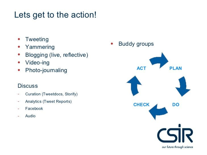 Lets get to the action!•   Tweeting•   Yammering                                    • Buddy groups•   Blogging (live, refl...