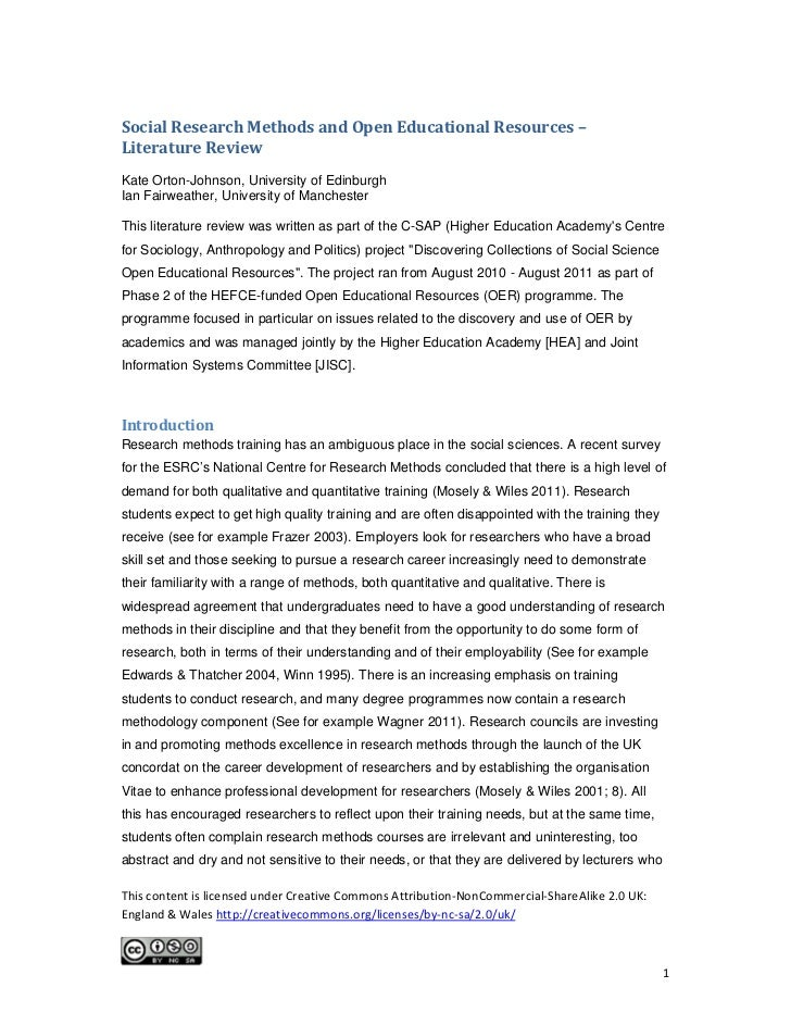 social research methods and open educational resources a literature  social research methods and open educational resources literature review kate orton johnson