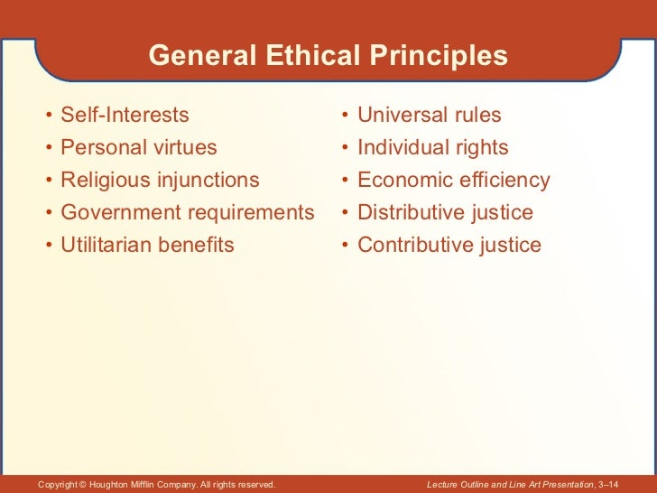 General Ethical Principles <ul><li>Self-Interests </li></ul><ul><li>Personal virtues </li></ul><ul><li>Religious injunctio...